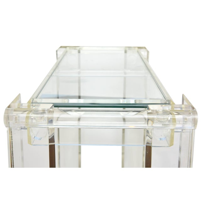 Glass 1970s Modern Lucite Mirrored and Glass Two-Tier Bar Cart or Trolley For Sale - Image 7 of 10