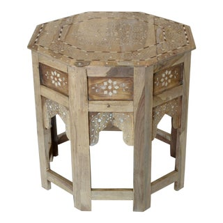 Moroccan Inspired Wood and Bone Side Table For Sale