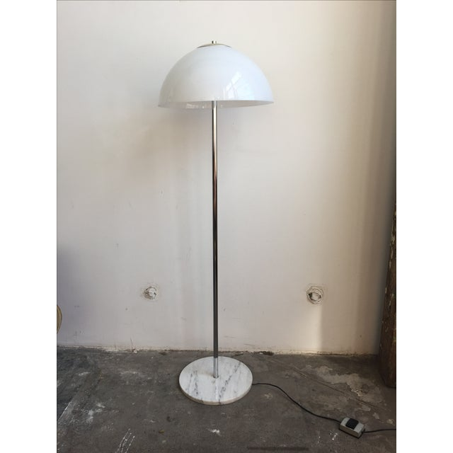Chrome Floor Lamp with White Glass Mushroom Shade - Image 2 of 10