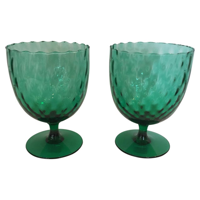 Emerald Green Goblets - A Pair - Image 1 of 4