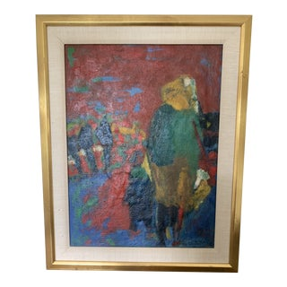 1970s Vintage Framed Figure Oil Painting For Sale