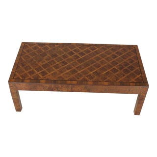 1970s Mid-Century Modern Burl Wood Marquetry Rectangle Coffee Table on Square Legs For Sale