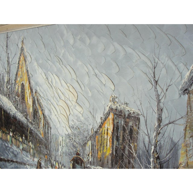 Mid-Century Impressionist Winter Cityscape For Sale - Image 9 of 11