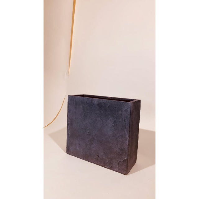 Grey Rectangle Planter With Natural Texture For Sale - Image 4 of 5