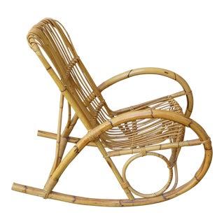 Mid-20th Century Boho Chic Franco Albini Design Rattan Rocking Chair