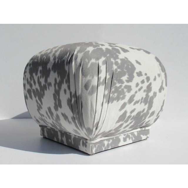 Vintage C.1970s Karl Springer Souffle' Pouf Ottoman in a Nova Suede Pony Hide Spotted Textile For Sale - Image 13 of 13
