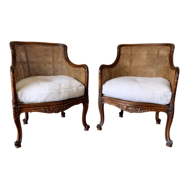Curved Double Cane Lounge Chairs- a Pair For Sale