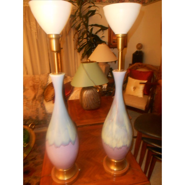 Mid Century Modern Volcano Drip Table Lamps - Pair - Image 9 of 9