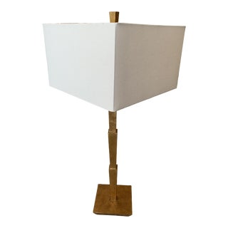 Modern Gold Leaf Table Lamp with Square Shade For Sale