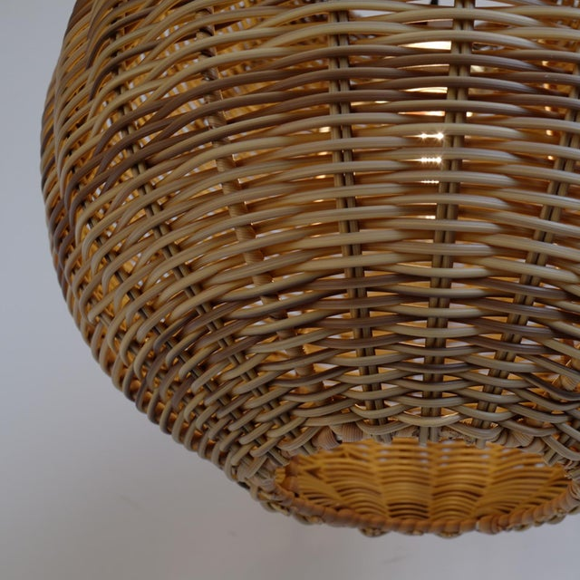 Faux Rattan Two Tone Globe Lantern For Sale - Image 4 of 5