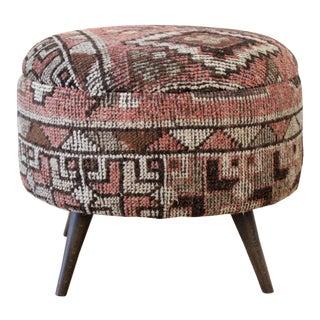 Custom Made Kilim Rug Round Ottoman For Sale