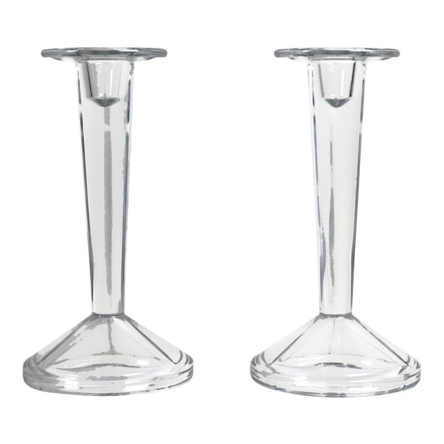 Minimalist Solid Clear Glass Candle Holders - A Pair For Sale