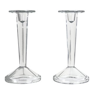 Minimalist Solid Clear Glass Candle Holders - a Pair, Final Markdown For Sale