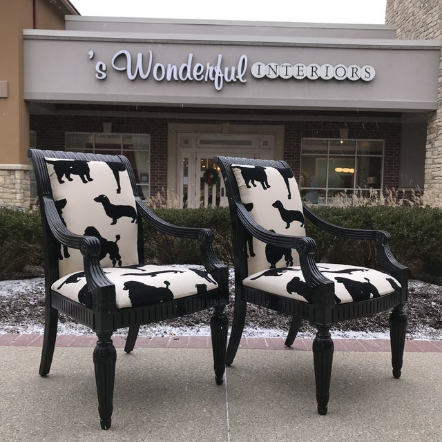 Wood Designers Guild Best in Show Dog Velvet Host Arm Chairs - a Pair Black and White For Sale - Image 7 of 7