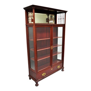 Antique Victorian Two Door Mahogany & Glass Bookcase Curio Cabinet Display Shelf