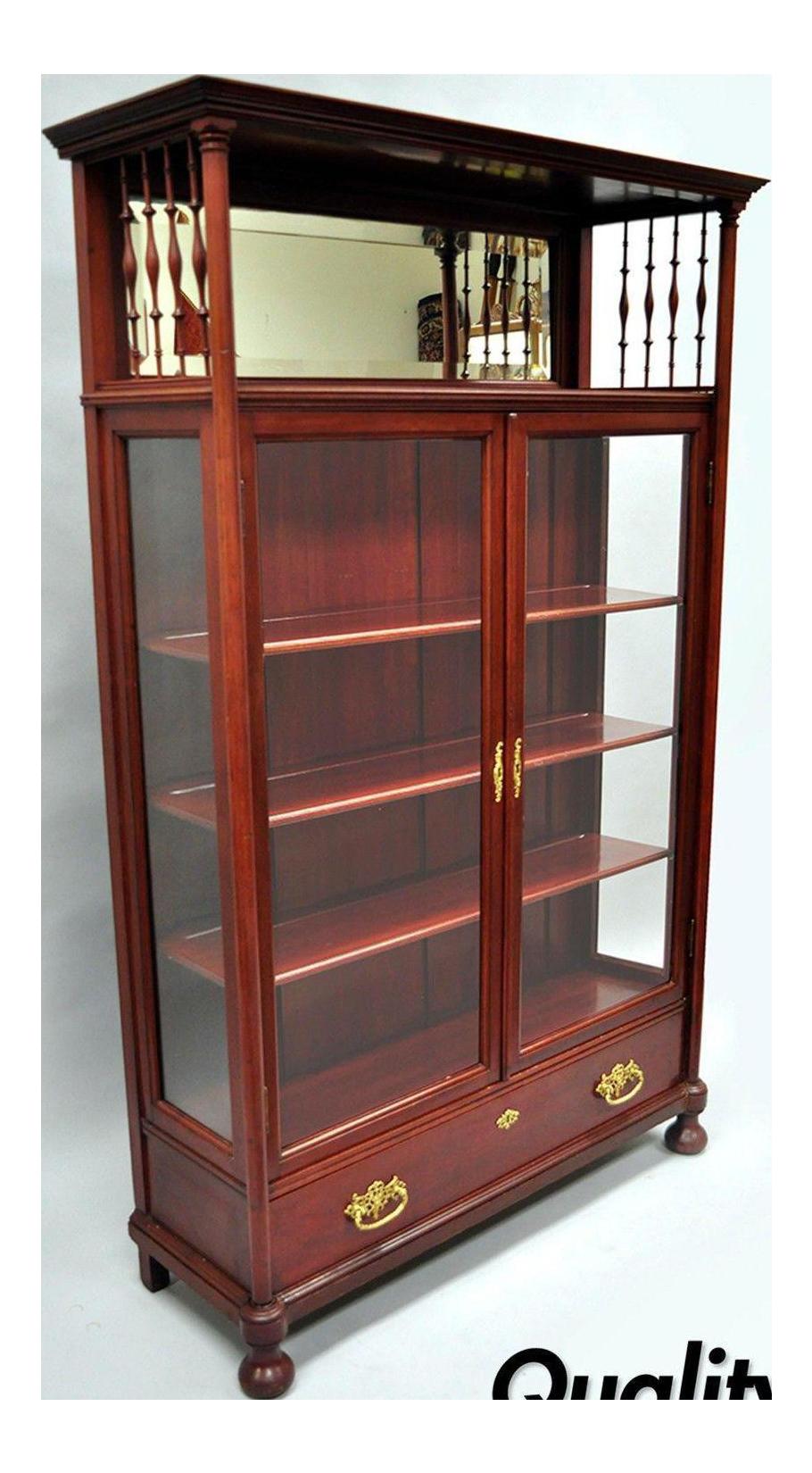 Antique Victorian Two Door Mahogany U0026 Glass Bookcase Curio Cabinet Display  Shelf