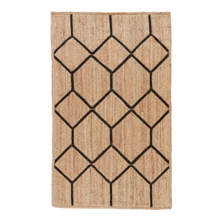 Nikki Chu by Jaipur Living Aten Natural Trellis Beige/ Black Area Rug - 2' X 3' For Sale