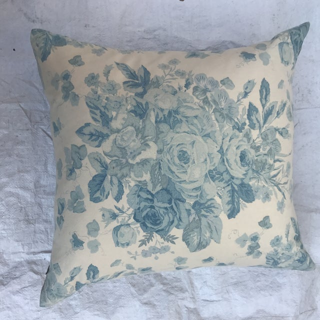 """White Ralph Lauren """"Faded Bouquet"""" Blue & White Floral Pillows~Pair For Sale - Image 8 of 11"""