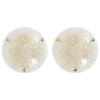 Pair of Glass Flush Mounts by Hillebrand, circa 1970 For Sale