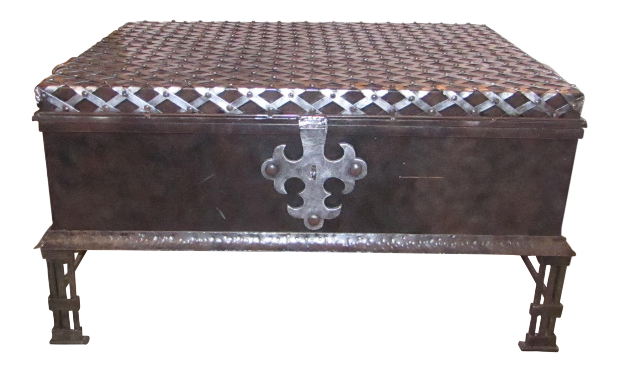 Large Decorative Metal Trunk Coffee Table For Sale