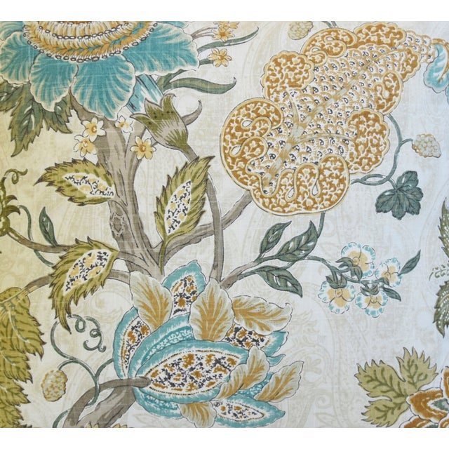 """French French Jacobean Floral & Velvet Feather/Down Pillow 24"""" Square For Sale - Image 3 of 6"""