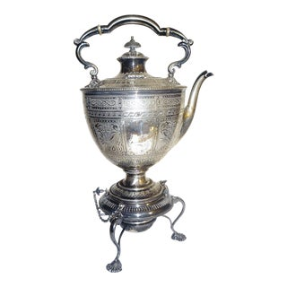 Vintage Continental Silverplated Teapot & Tripod Warming Stand With Shell Decoration For Sale