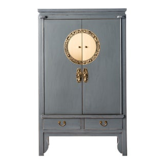 Asian Grey Lacquer Armoire For Sale