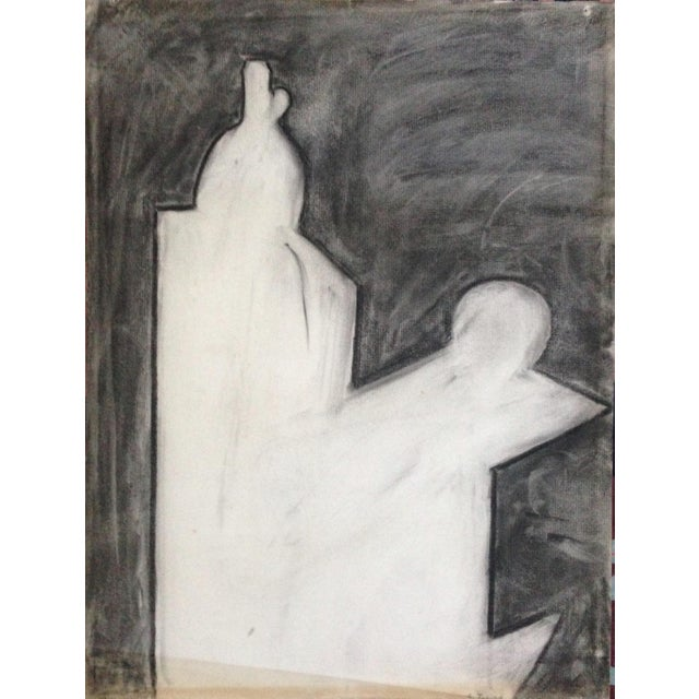 1970s Charcoal Abstract Drawing Signed For Sale - Image 4 of 4