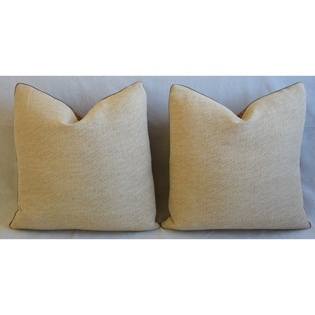 """French Pierre Frey La Riviere Feather/Down Pillows 21"""" Square - Pair For Sale - Image 10 of 13"""