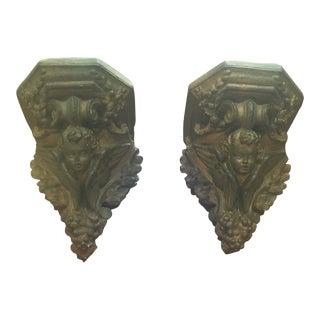 Antique Cherub Wall Brackets - Pair