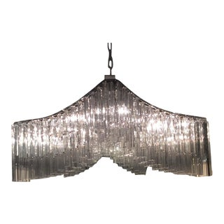 Rectilinear Camer Glass Chandelier For Sale