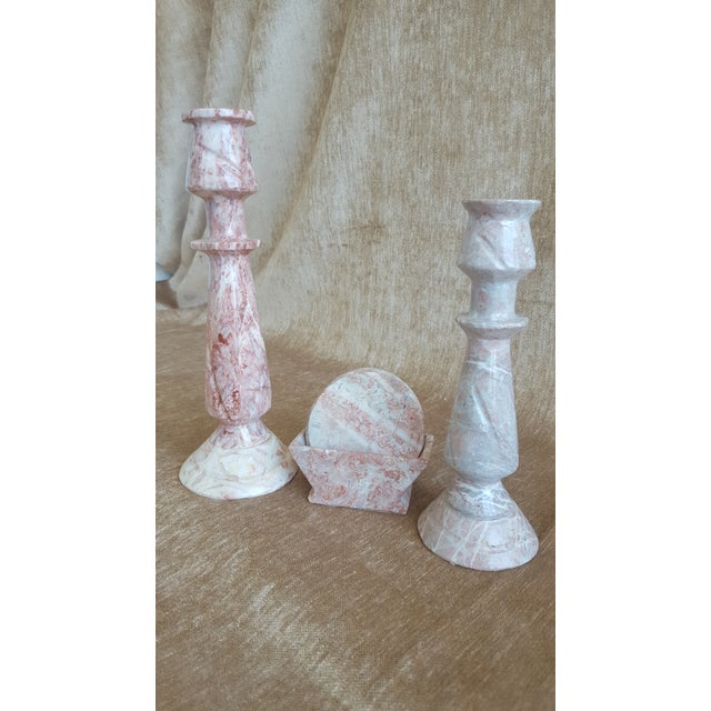 Vintage Pink Onyx Marble Candle Holders and Coaster Set - Image 3 of 13