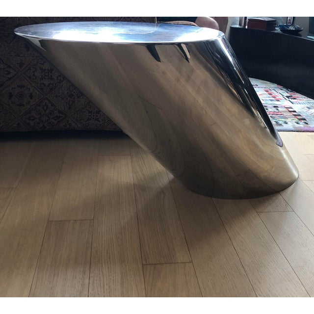 Memphis 1980's Memphis J. Wade Beam for Brueter Polished Steel Zephyr Table For Sale - Image 3 of 5