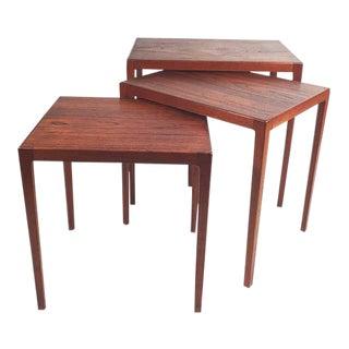 Set of 3 nesting tables designed by L. Pontoppidan For Sale