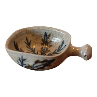 Hand Painted Ceramic Serving Bowl with Handle