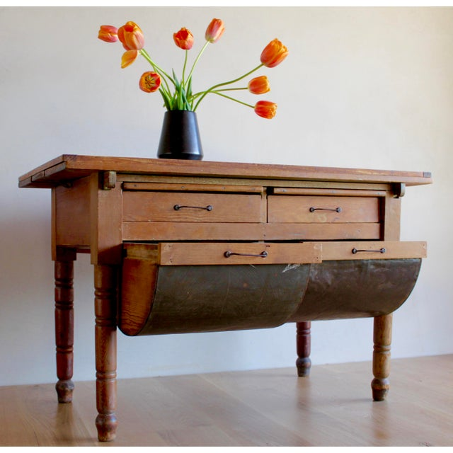 """Incredible, rare primitive """"Possum Belly"""" baker's table. Set apart from others by many details, including extensions that..."""