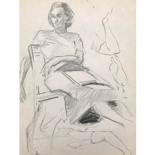 Mid-Century Figure Study of a Lady Drawing C. 1950-52 For Sale