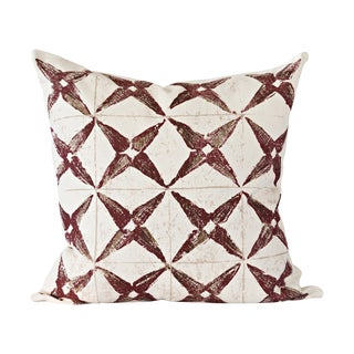 Burgundy Star Throw Pillow