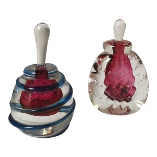 Karg Art Glass Perfume Bottles- a Pair For Sale