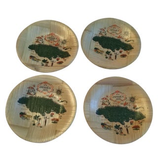 Jamaica Map Bamboo Coasters - Set of 4