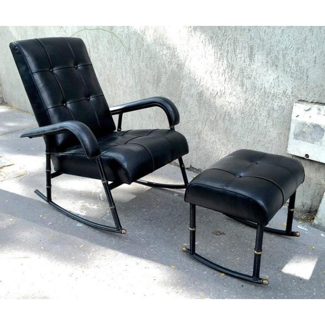 1920s Jacques Adnet Rare Rocking Chair and Footstool in Black Hand-Stitched Leather For Sale - Image 5 of 9