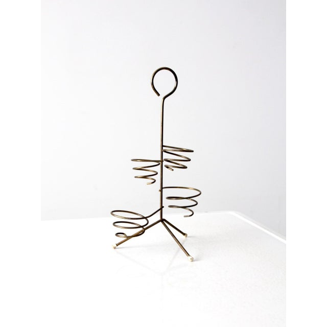 Mid-Century Brass Coil Stand For Sale - Image 6 of 9