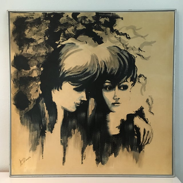 Black and ivory profile portrait painting of two women. Vintage 1960's - 70's original mid century modern oil painting...
