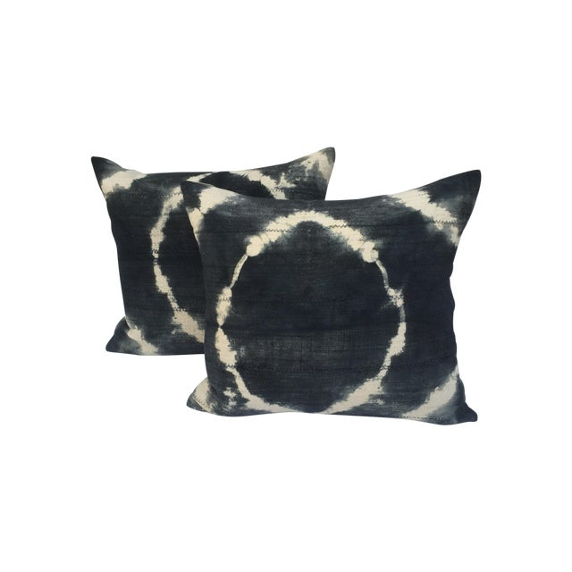 Grey Tie-Dye Mud Cloth Pillows - Pair - Image 1 of 6
