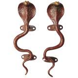 Image of Red Brass Cobra Door Handles - a Pair For Sale
