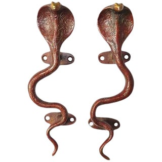 Red Brass Cobra Door Handles - a Pair For Sale