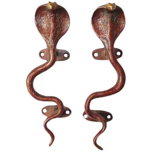 Red Brass Cobra Door Handles - a Pair For Sale