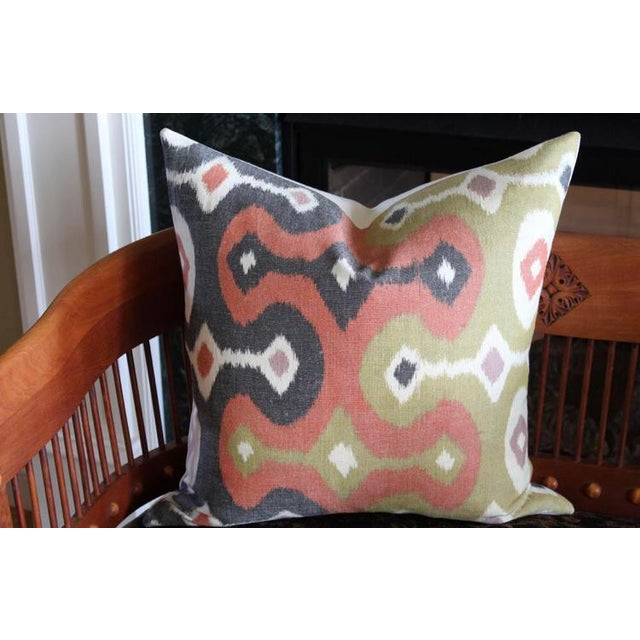 """A pair of custom designer 20""""x20"""" pillow covers in a Martyn Lawrence Bullard for Schumacher woven Ikat fabric. The pattern..."""