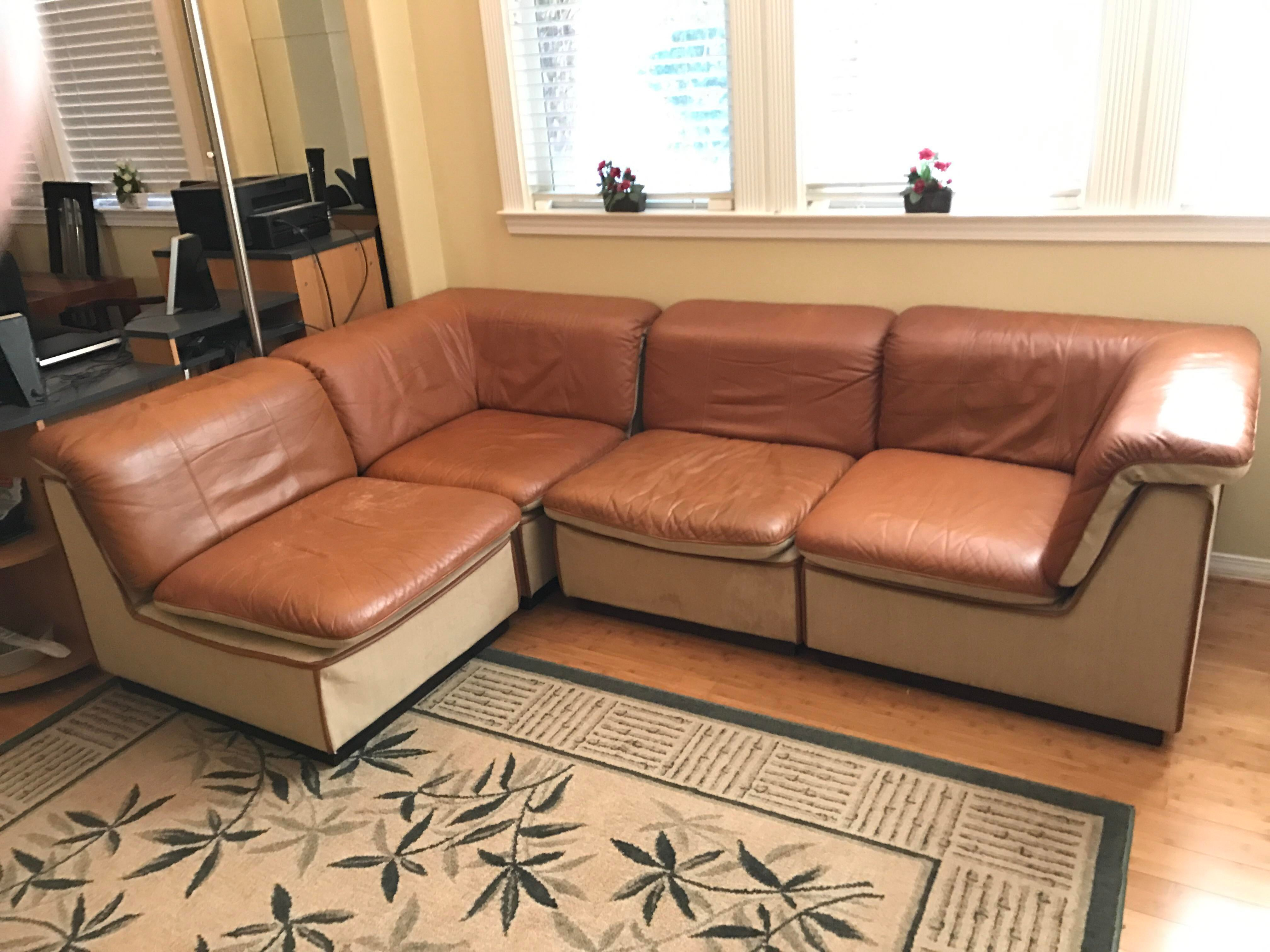 Delicieux Mid Century Modern Vintage Rapport Brown Leather Sectional Sofa   Set Of 5  For Sale