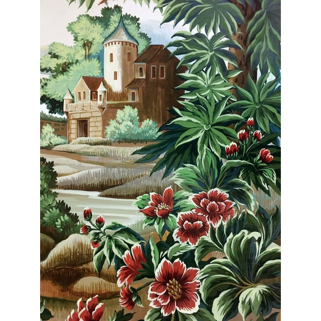 Hand painted French taperstry scenery on canvas panel. Floral/leave design on border together with building, bird, tree,...